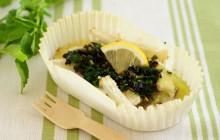 新食感!山芋とタラのグリル 七草オリーブソース
